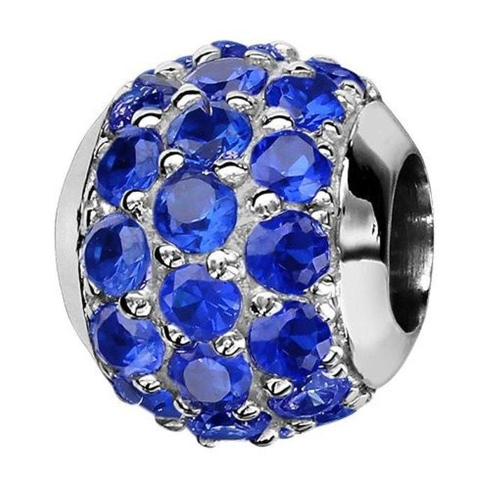 Charm boule pavage oxyde de zirconium bleu argent 925 De Nombreux Types De oN7y3kea