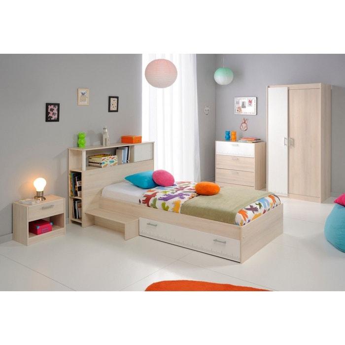 Chambre complète enfant en bois blanc et acacia cb1007 bois naturel ...