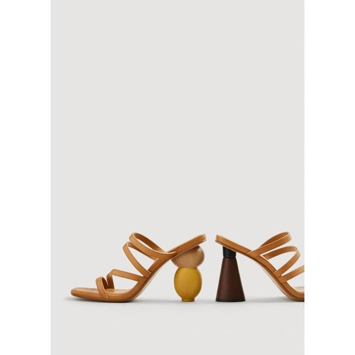 Sandales cuir talon géométrique marron moyen Mango