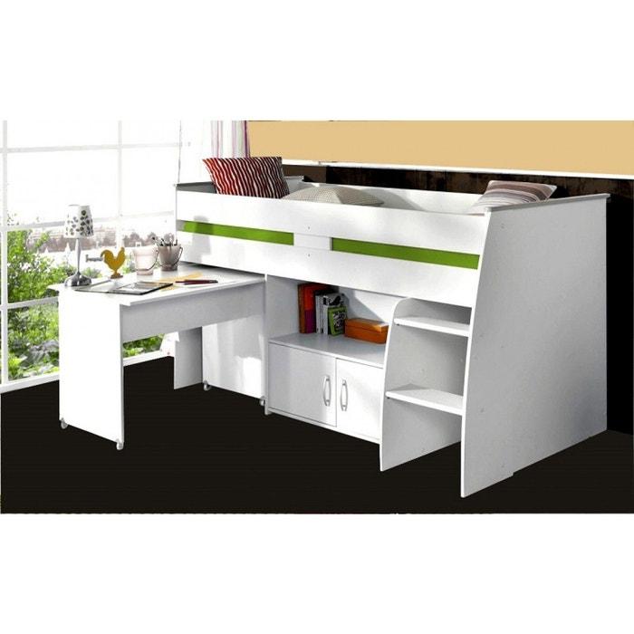 lit enfant combin blanc 90x200 avec bureau blanc terre de nuit la redoute. Black Bedroom Furniture Sets. Home Design Ideas