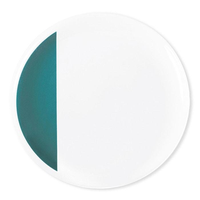 assiette plate en porcelaine 26cm lot de 6 louison blanc bleu canard bruno evrard la redoute. Black Bedroom Furniture Sets. Home Design Ideas