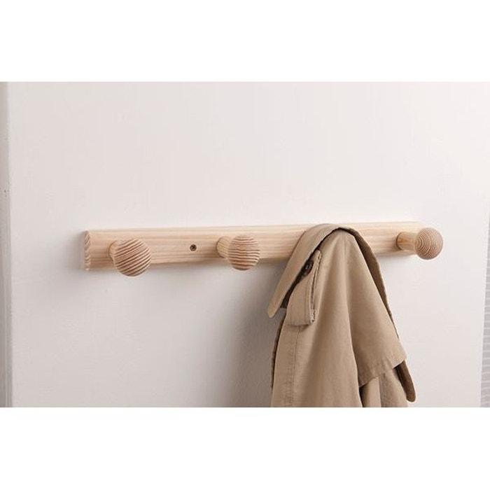 pat re fixer en bois naturel brut 4 crochets couleur. Black Bedroom Furniture Sets. Home Design Ideas