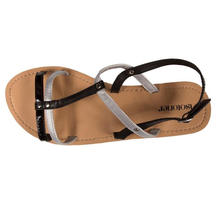 Sandales femme noir doré noir Isotoner
