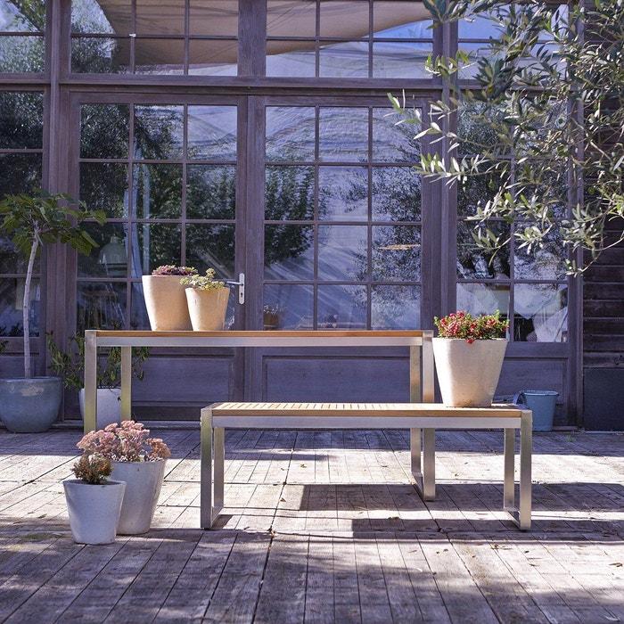 Salon de jardin en bois de teck et inox arno teck Tikamoon   La Redoute
