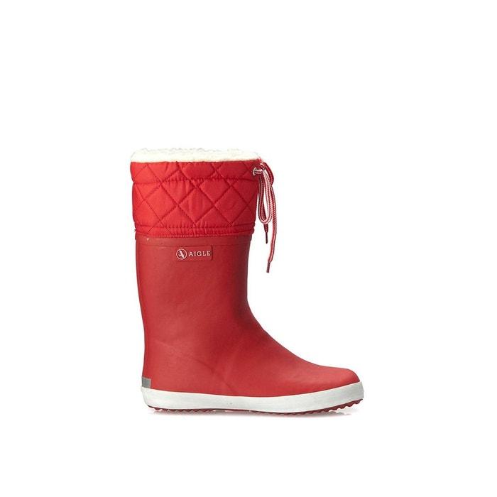 bottes en cuir fourrée en rouge