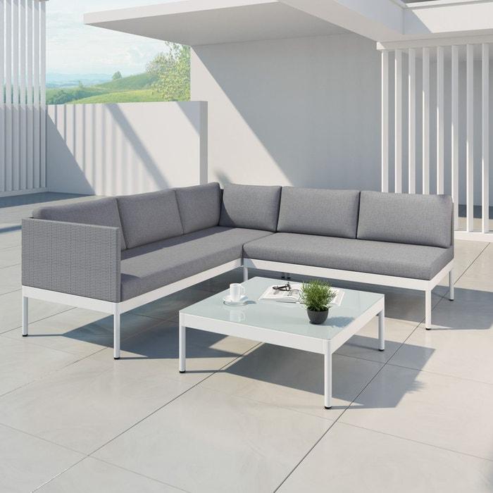 Salon de jardin aluminium, resine tressee, gris/blanc, JUN