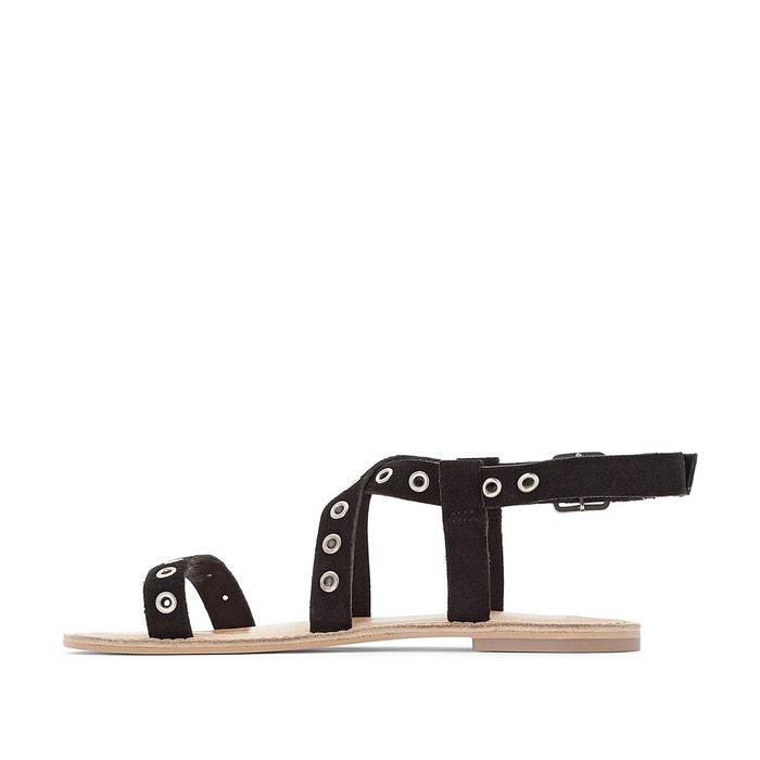 Sandales cuir détail œillets La Redoute Collections