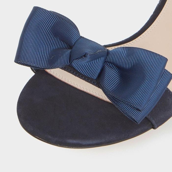 Sandales à talons ornées de bijoux fantaisie avec n-ud - loulabelle bleu marine daim Dune London