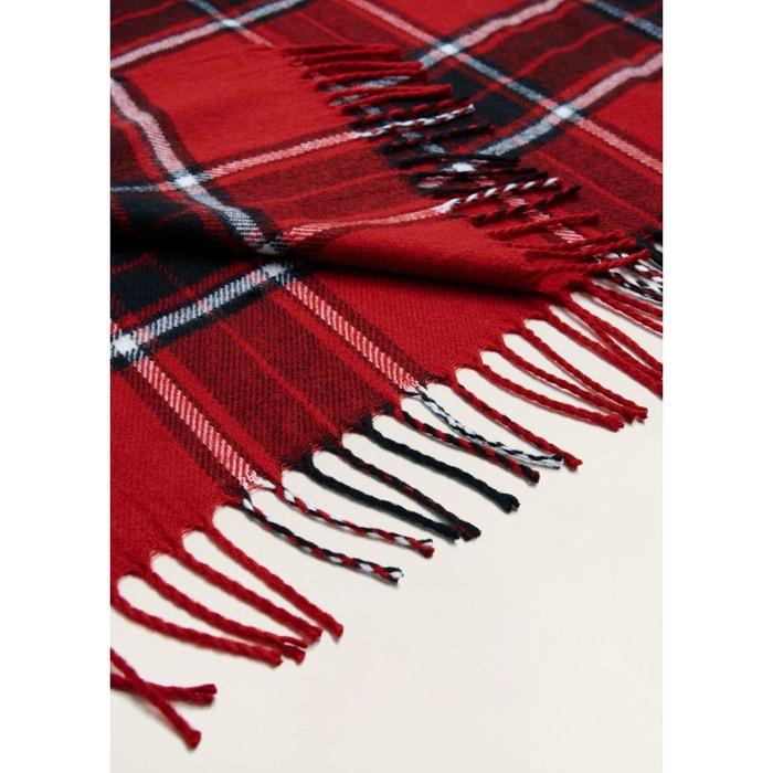 Écharpe carreaux écossais rouge Mango Man   La Redoute db4f5ad45a51