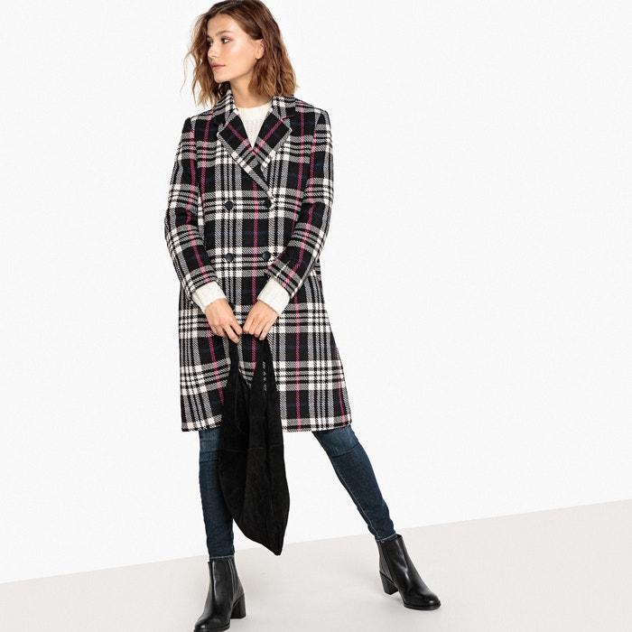 Manteau croisé à carreaux en laine mélangée Selected Femme ecru noir ... 747152df4942