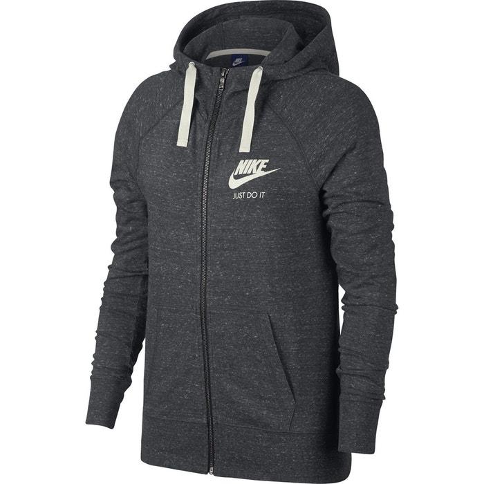 Sweat zippé à capuche gym vintage gris anthracite Nike   La Redoute 74685a2d628f