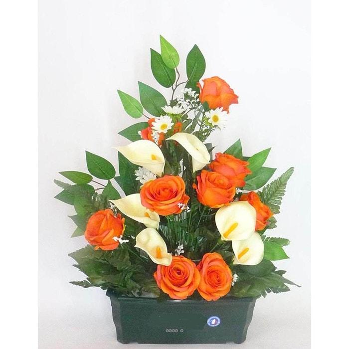 composition jardiniere de roses et arums callas artificielle lestee exterieur h 55 cm l 42 cm. Black Bedroom Furniture Sets. Home Design Ideas