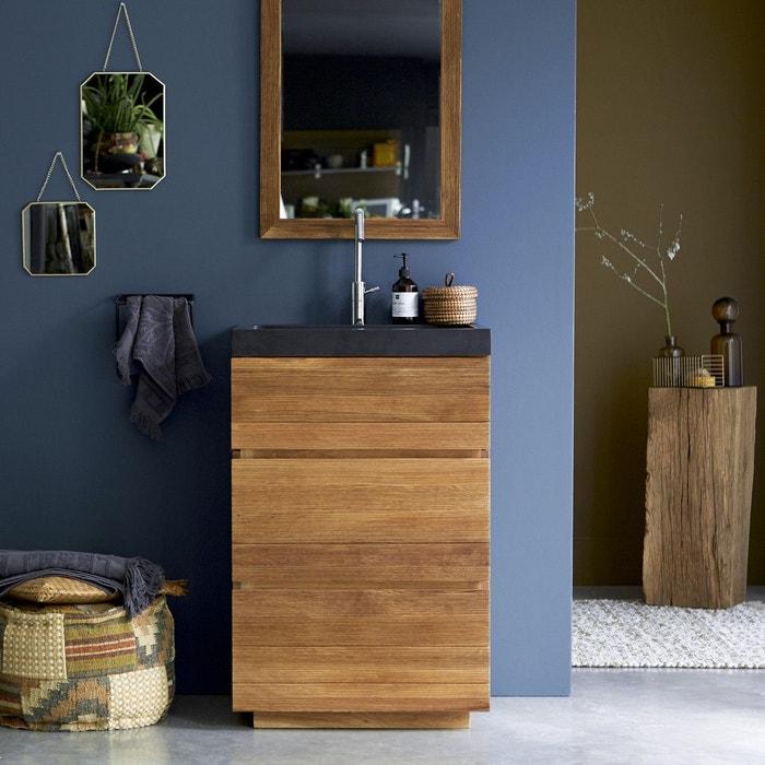 Meuble Salle de bain en bois de chêne et pierre de lave 60 Karl