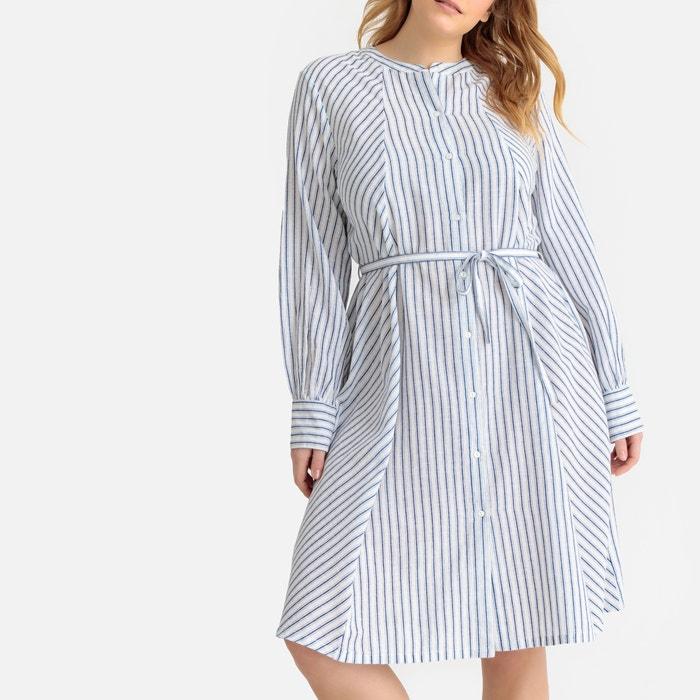 blauw wit gestreepte lange jurk