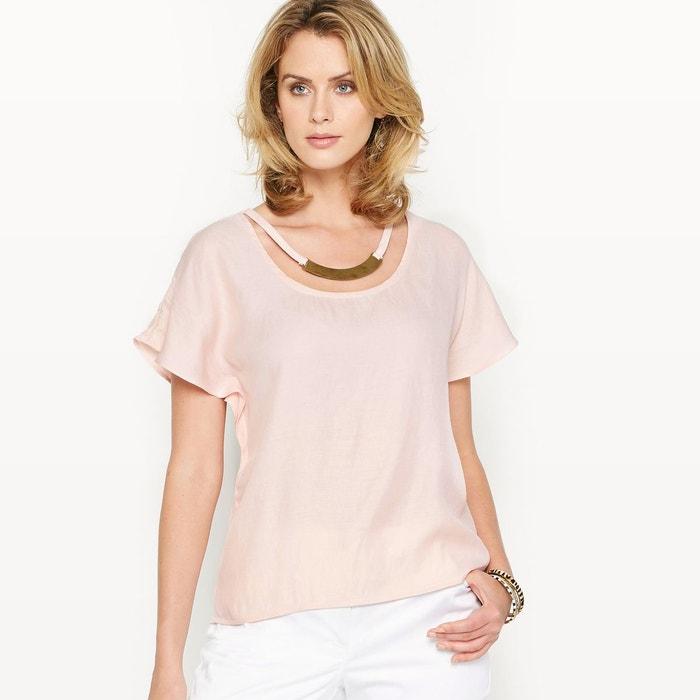 blouse satin rose poudr anne weyburn en solde la redoute. Black Bedroom Furniture Sets. Home Design Ideas