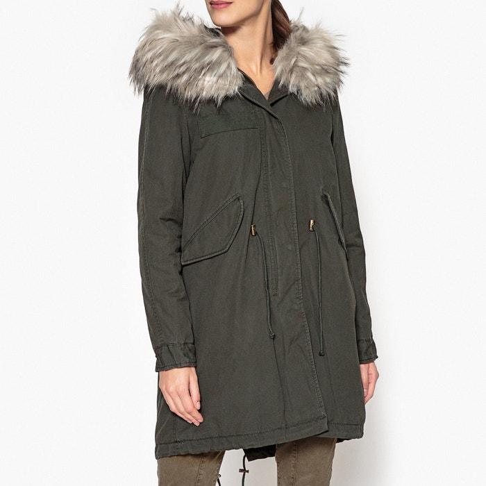 san marino long hooded parka with faux fur trim khaki blonde la redoute. Black Bedroom Furniture Sets. Home Design Ideas