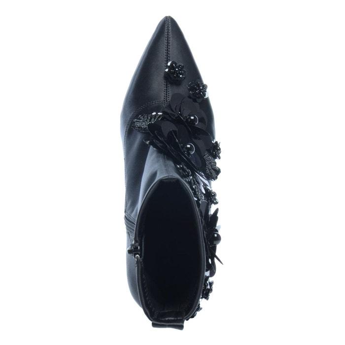 Bottines avec paillettes et petites perles noir Sacha