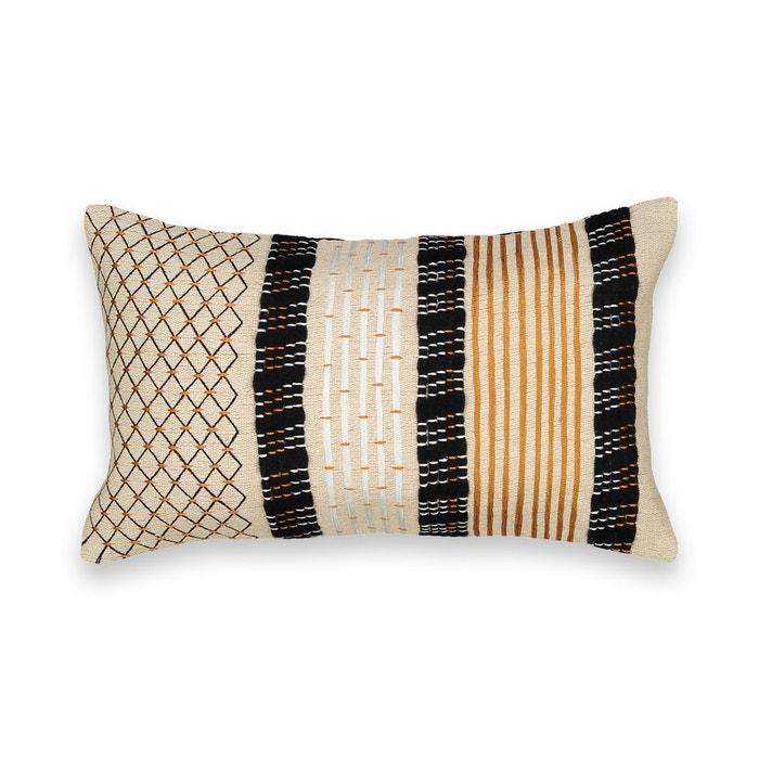 housse de coussin brod e luzubal noir naturel am pm la redoute. Black Bedroom Furniture Sets. Home Design Ideas