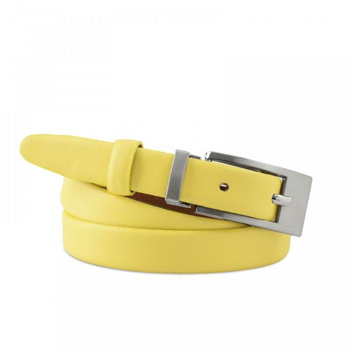 4709be6f240 Ceinture femme en cuir feliane jaune - fabriqué en europe jaune Allee Du  Foulard