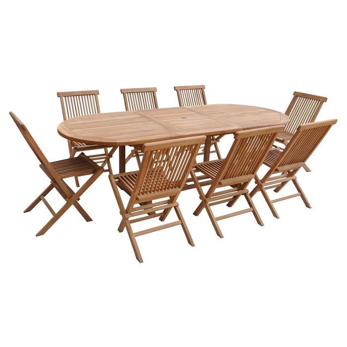 Salon de jardin lombok extensible en teck - 8 places marron Happy ...
