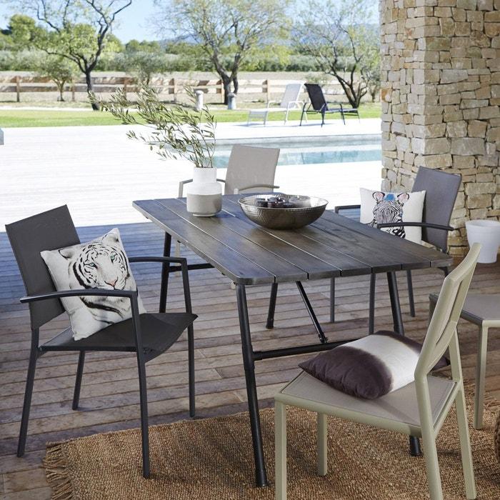 Table de jardin pliante bois et métal sohan noir La Redoute ...