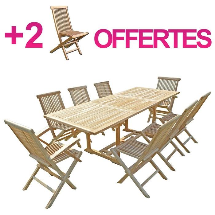 Ensemble salon de jardin en teck amara 6 2 chaises 2 fauteuils bundle chaises naturel c et l Table jardin teck la redoute