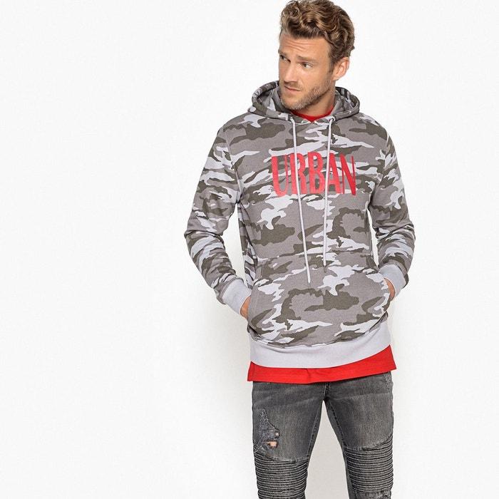 693f3e807146 Sweat oversize à capuche imprimé, coupe ample gris La Redoute Collections    La Redoute