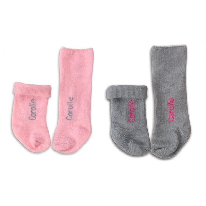 Chaussettes roses et grises pour poupon 42 cm COROLLE