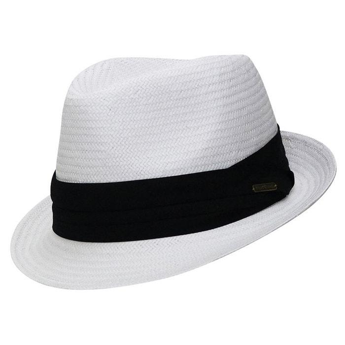 Prix De Gros Frais De Port Offerts Trilby blanc style panama ruban noir blanc Chapeau Acheter Pas Cher Faire Acheter délogeant Vycegb