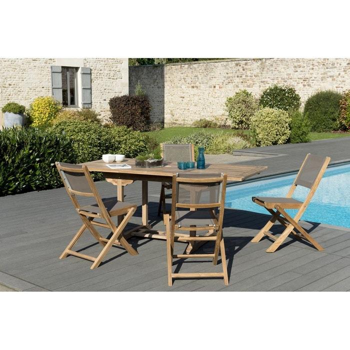 Salon de jardin bois de teck table de jardin extensible rectangulaire  120/180x90cm + 4 chaises pliantes textilène SUMMER