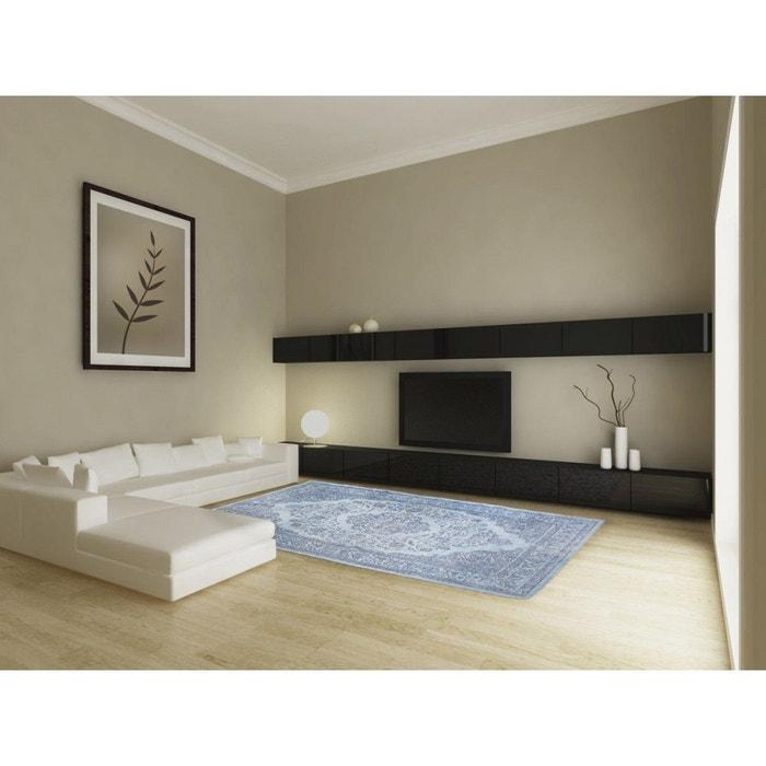 Tapis en coton bleu clair oriental pour salon tozeur bleu clair vivabita la - La redoute tapis salon ...