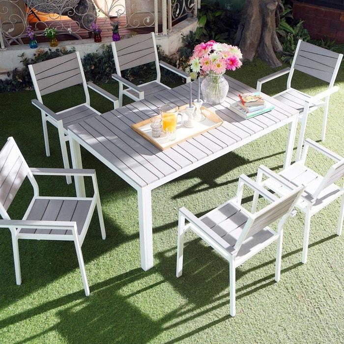 Salon de jardin en alu, polywood 6 places, siderno 6 gris/blanc ...