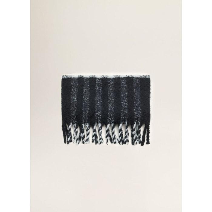 Maxi écharpe à franges noir Mango   La Redoute 907fed807b24