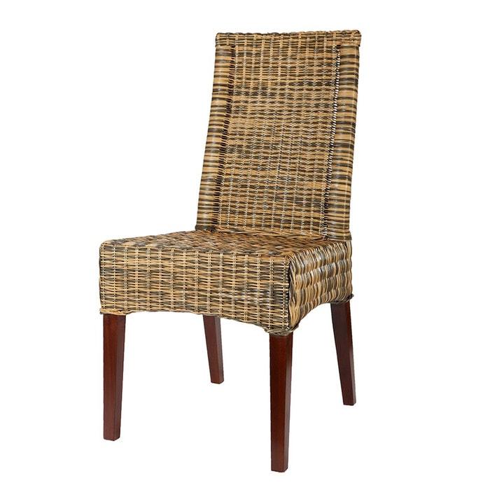 chaise desna en osier bicolore brun et gris rotin design. Black Bedroom Furniture Sets. Home Design Ideas