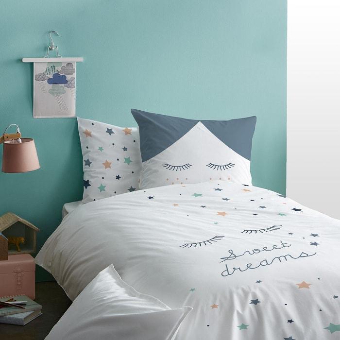 housse de couette enfant blanc bleu 100 coton matt et rose blanc matt et rose la redoute. Black Bedroom Furniture Sets. Home Design Ideas