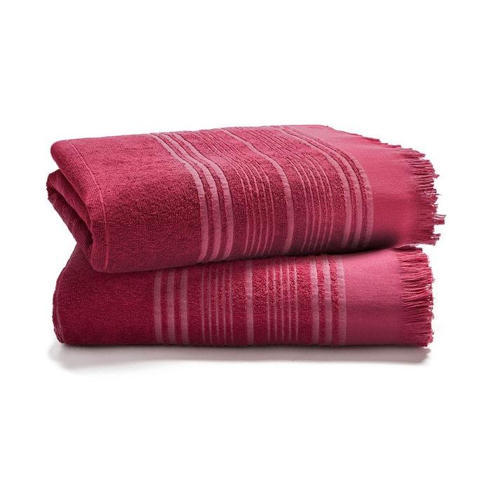 serviette de toilette coton jacquard 350g m couleur framboise framboise blanc cerise la. Black Bedroom Furniture Sets. Home Design Ideas