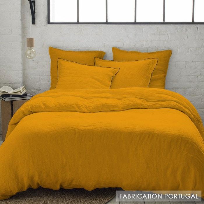 Parure housse de couette en lin lav jaune curry avec taies bourdon jaune selene et gaia la - Parure de lit en lin lave ...