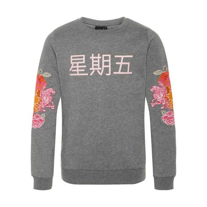 b4e0f807b7aa Sweat-shirt broderie fleurie gris-dark grey melange Name It