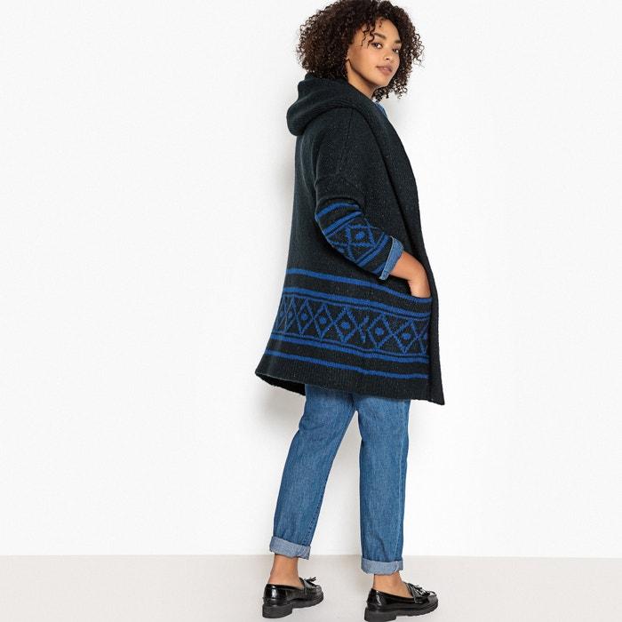Long Open Cardigan in Chunky Jacquard Knit  CASTALUNA image 0