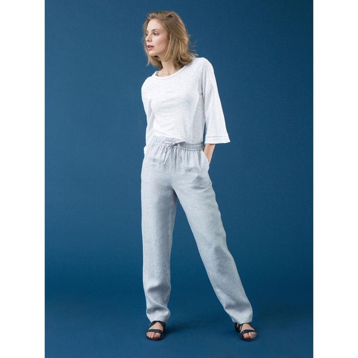 1a0709e48366 Pantalon femme pur lin chevrons