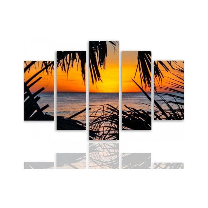 Composition 5 Tableaux Coucher De Soleil Sur La Mer Multicolore