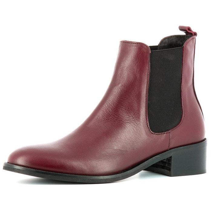 Boots fourrées cuir noir La Redoute Collections La Redoute GH8HUA1Z ... 6b8766698d4b