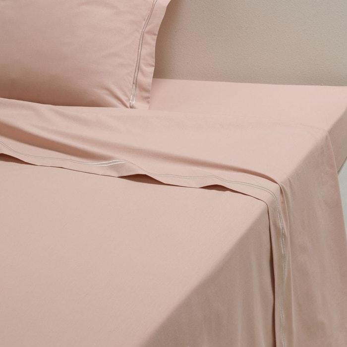 drap plat percale pur coton palace gris rose poudr e la. Black Bedroom Furniture Sets. Home Design Ideas