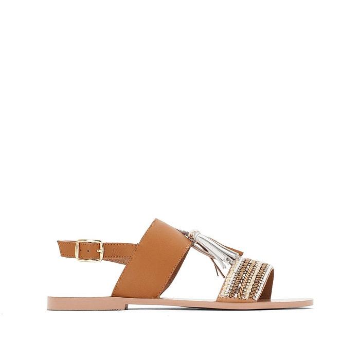 Sandales cuir détail pompons   camel La Redoute Collections   La Redoute
