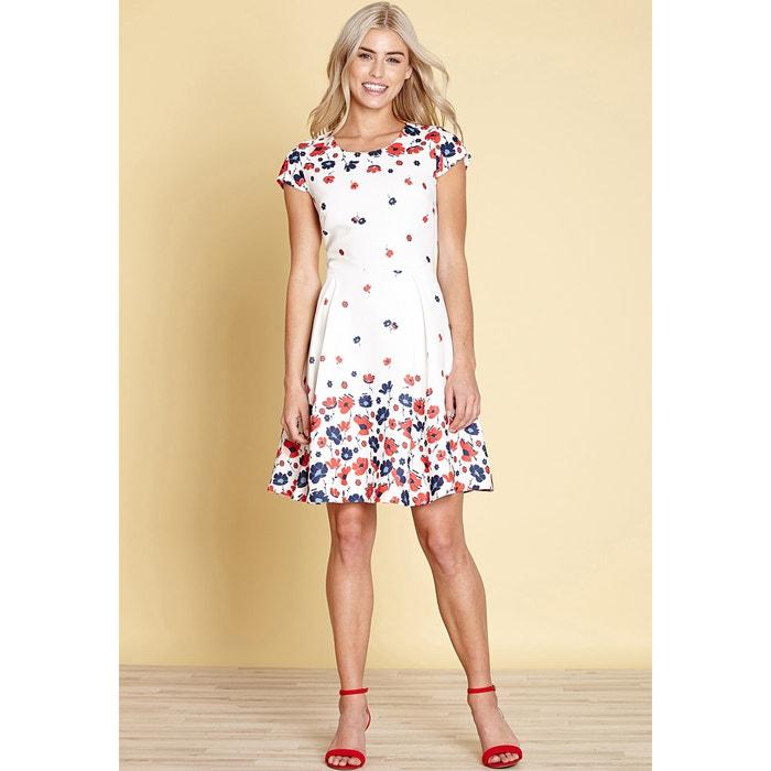 Vestido corto y evasé estilo patinadora, con estampado de flores  YUMI image 0