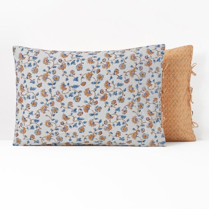 Indian Flower Washed Cotton Pillowcase Floral Print La Redoute Interieurs La Redoute