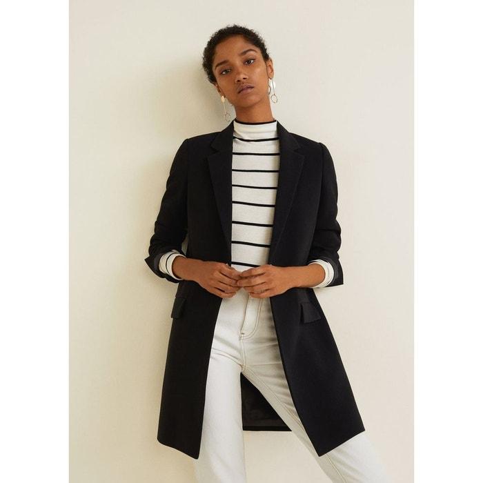 Manteau structuré à revers noir Mango   La Redoute a15d96042bd6