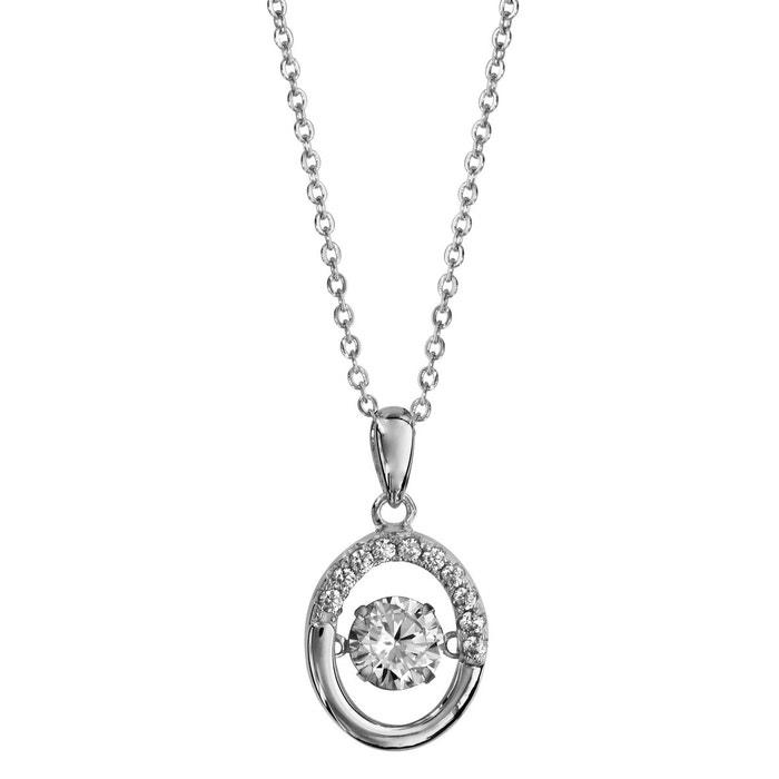 Collier longueur réglable: 41,5 à 44,5 cm pendentif ovale oxyde de zirconium blanc argent 925 couleur unique So Chic Bijoux | La Redoute