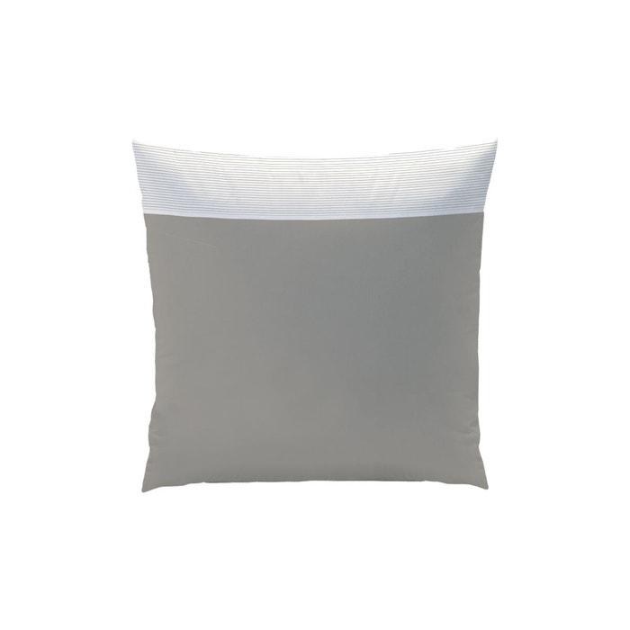 taie d 39 oreiller carr e taupe pliss blanc 100 coton taupe matt et rose la redoute. Black Bedroom Furniture Sets. Home Design Ideas