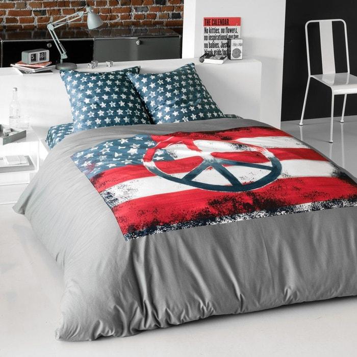 housse de couette us flag rouge bleu blanc gris la redoute interieurs la redoute. Black Bedroom Furniture Sets. Home Design Ideas